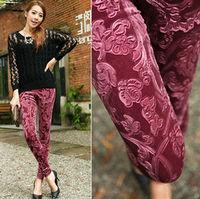 Hot Sale Latest Korea Pleuche Embossed Leggings For Women 2015 Autumn Fashion trousers Long Pants Free Size + Free Shipping