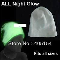 10 pcs/lot Glow In The Dark Hat - Super Glowing Skull Cap Beanie All Night Glow Phosphorescent Beanie Unisex
