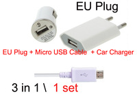 3 in 1 Mobile Phone (EU Plug 1 + Micro USB Cable 1 + Car Charger 1) Travel Kit for Samsung Galaxy HTC Sony Ericsson