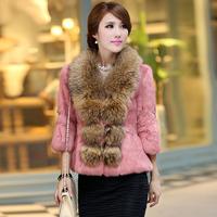 2013 Women's Genuine Rabbit Fur Jacket Three Quarter Sleeve Raccoon Fur Collar Female Outerwear Korean Style VK1022