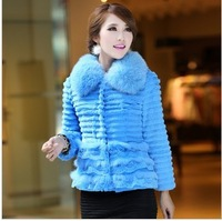 2013 Autumn and Winter Women's Genuine Rabbit Fur Jacket with Fox Fur Collar Female Short Outerwear Korean Style VK1034