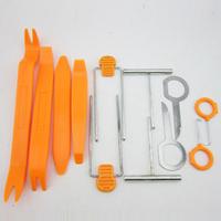 Free Shipping One Set 12pcs Car Radio Door Clip Panel Trim Dash Audio Removal Pry Tool Kit Plastic