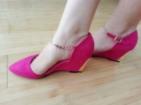 2013 fashion pointed toe velvet high-heeled shoes fashion shoes wedges sandals ol elegant all-match female shoes