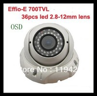 700TVL Effio-P Sony CCD 2.8-12mm Manual Foucs Zoom Lens CCTV Security Home IR Infrared Outdoor Vandal Dome Camera OSD WDR