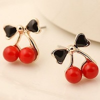 3622215>Temptation red cherry sweet lovely earrings
