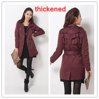 Sales Women Slim Fit Double-breasted Thickened Long Trench Coat Casual Outerwear wind Large plus size Windbreaker Overcoat S2