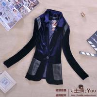 2013 autumn women's fashion normic blazer fashion PU pleuche slim suit jacket female