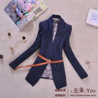 2012 autumn medium-long preppy style serpentine pattern long-sleeve slim blazer suit female outerwear