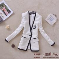 Fashion 2013 OL outfit patchwork color block elegant slim female outerwear V-neck blazer suit