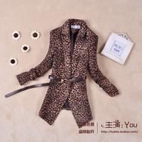 2013 spring female outerwear slim pleated sleeve wild leopard print cool blazer suit
