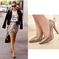 Fashion star stitch 2013 rivet pointed toe high heels shallow mouth single shoes 621 - 18