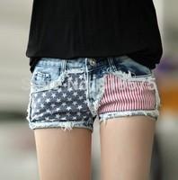 Summer 2014 new fashion hot sale women denim jeans shorts,high quality desigual all-match flag print woman clothes,S-XL big size