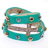 Shamballa jewelry Wholesale,new color,New wrap Shamballa Bracelets Micro Pave CZ Disco cross,shamballa Bracelets