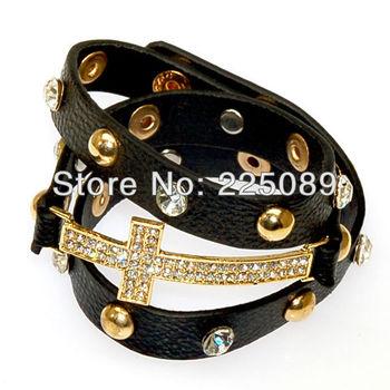 Shamballa jewelry , Черный Цвет, wrap Shamballa Bracelets Micro Pave CZ Disco cross, shamballa ...