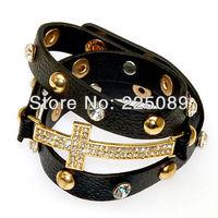 Shamballa jewelry Wholesale,black color,New wrap Shamballa Bracelets Micro Pave CZ Disco cross,shamballa Bracelets