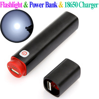 High quality CE FCC 3 in 1 Multi-function Portable 350LM Mini LED Flashlight torch & Power Bank &18650 Charger Free Shipping