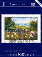 New design and free shipping 14CT DIY A path to beach unprinted chinese embroidery kits