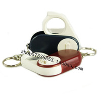 Key chain with white light source lamp magnifier with battery