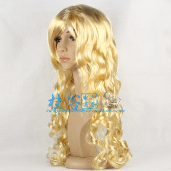 Halloween  Chrismas  Gold long curly hair Christmas halloween wig prom