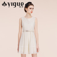 8.6 YIGUE 2013 autumn new arrival women's lace decoration sleeveless one-piece dress tank dress 005