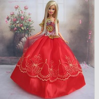 5 Pcs / lot New Handmade Princess Wedding Party Dress Clothes Gown For Barbie Doll Red show bead free shipping By epacket