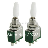 FREE SHIPPING 10 x AC 250V 2A White Handle 3 Pin SPDT ON/ON 2 Position Mini Toggle Switch