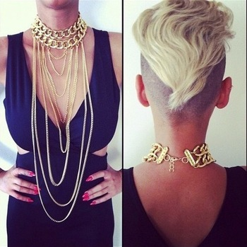 Min Order $18(Can Mix Item)Shiny Cut Gold Plated Chains Necklace Choker Chunky Body Chain Punk Boho Gothic