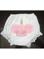 Free Shipping Baby Girl's Pure Cotton Cake Pattern Pants Bloomers Nappy Cover - S White