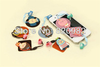 10pcs/lot Cute Animal Family Dust Plug Of 3.5mm Anti Earphone Jack For Apple iPhone Samsung