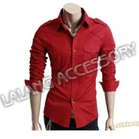 Wholesale+ retail long-sleeved shirt New Men's casual Formal shirts High Qulity Red Men's Slim plain and simple Shirt 1PC 652735
