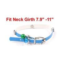Faux Leather Adjustable Metal Jingle Bell Bone Detailing Dog Cat Pet Collar Blue