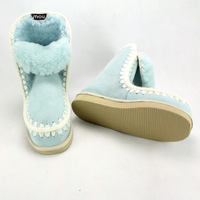 Sky Blue and wool fur one snow boots in