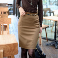 Women's slim Knee Length Business bust skirt autumn and winter ol slim hip Pencil skirts High Waist  woolen skirt