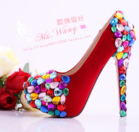 New 2013 autumn-summer Bright red crystal wedding shoes candy rhinestone shoes formal dress shoes high heel platform shoes