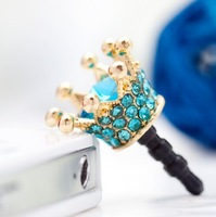 Min.Order $12(can mix) Universal 3.5mm Fashion Crystal Crown Anti Dust Dustproof Earphone Jack Plug