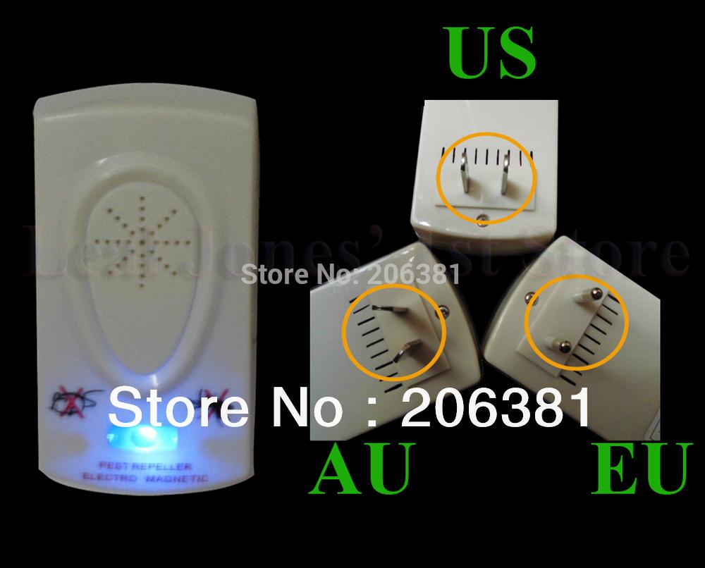 Средство для борьбы с насекомыми-вредителями Electronic Ultrasonic Pest Repeller 2 AU 2.5W power and 2-mode optional electronic ultrasonic 2 mode pet repeller w 2 flat pin plug white