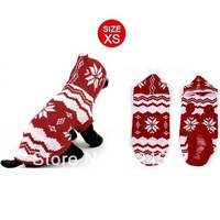 Winter Flower Pattern Hand Knit Yorkie Dog Pet Puppy Clothing Sweater Red Size 8