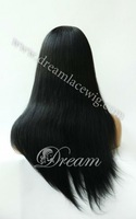 Wholesale Luxury & Fashion Brazilian  remy front  lace wig,8-24inch silky straight #1 jet black Free ship!!!