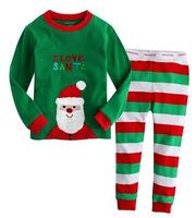 6sets/lot Baby Unisex Christmas Long Sleeve Pajamas Set Kids Xmas Clothing Set Free Shipping
