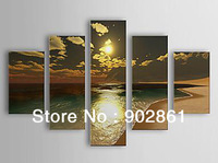 [funlife]-5pcs/set Free shipping 100% Hand Painted  Attractive Seascape oil Painting with Stretched Frame