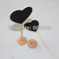 Free Shipping 100 x Love Heart Wooden Mini Chalkboards Blackboards Place Holder On Stick For Wedding Party Decorations