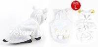 Winter Hooded Press Stud Button Pet Dog Doggie Coat White Size M