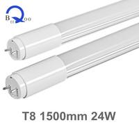 Free Shipping (50pcs/lot) High Brightness SMD3528 LED Tube Light T8 1500mm 24W White AC85-265V Aluminum+PC Cover