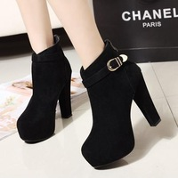 2013 fashion hasp high-heeled platform thick heel lacing martin boots women's ankle-length boots ankle boots
