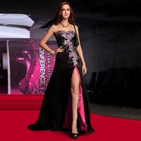 Vintage sexy black tube top evening dress slim long design placketing banquet party formal dress evening dress