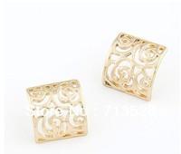 Fashion sweet temperament earrings simple hollow box earrings