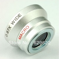 2 in 1 Magnetic Detachable 0.67X Wide Angle Lens + Macro Lens Mobile Phone Lens For Mobile Phone Iphone 4 4S 5 Samsung HTC CL-1