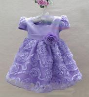HOT Roses Puff Sleeve Wedding dresses for girls Cute Princess TUTU evening dress 4 pcs lot YA1006