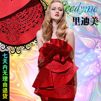 Leedy me  formal chinese style red paper cut short one-piece dress star style evening dress
