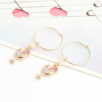 Brincos Min.order is$10  18K Gold Plated    new arrival product 2013 Inlaying pink pearl protein hanap stud earring e9128a